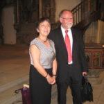 Margot Käßmann und Winfried Dalferth in der Johanneskirche in Crailsheim nach der Andacht am Reformationsweg 2014.